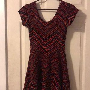 funky design red and black scoop neck dress